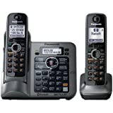 CE - Panasonic KX-TG7642M DECT 6.0 Link-to-Cell via Bluetooth Cordless Phone with Answering System - 2 Handsets - Metallic Gray