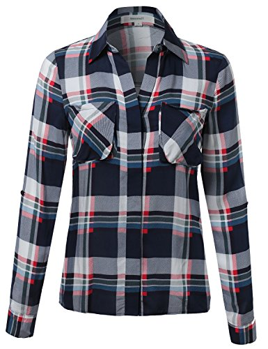 Awesome21 Women's Lightweight Relaxed Fit Checkered Plaid Roll up Sleeve Button Down Shirt