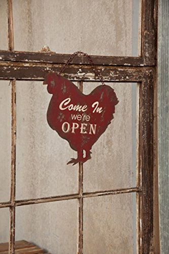 Vintage Metal Animal Shaped Open and Closed Two Sided Tin Business Door Sign (Red Chicken) (Vintage Chicken Signs compare prices)