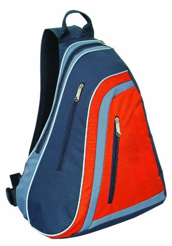 Trendy Sling Backpack Knapsack School Book Bag Good for Traveling, Grey with Orange by BAGS FOR LESSTM