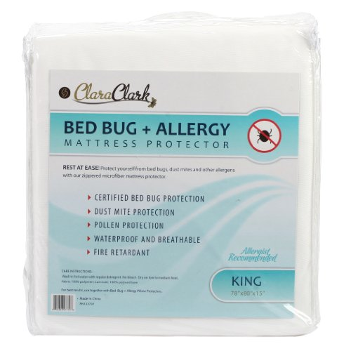 For Sale! King Size Clara Clark Hypoallergenic 100% Waterproof Washable Fire Retardant Mattress Cove...