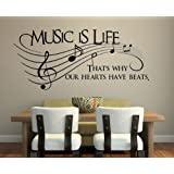 """Music Is Life.. That's Why Our Hearts Have Beats Vinyl Wall Decal Sticker Art 23"""" X 10"""""""