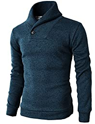 H2H Mens Knited Slim Fit Pullover Sweater Shawl Collar With One Button Point BLUEGREEN US S/Asia M (KMOSWL036)