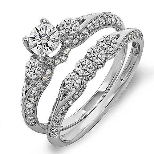 1.45 Carat (Ctw) 14K White Gold Round Diamond Ladies 3 Stone Bridal Engagement Ring Set With Matching Band 1 1/2 Ct (Size 6)