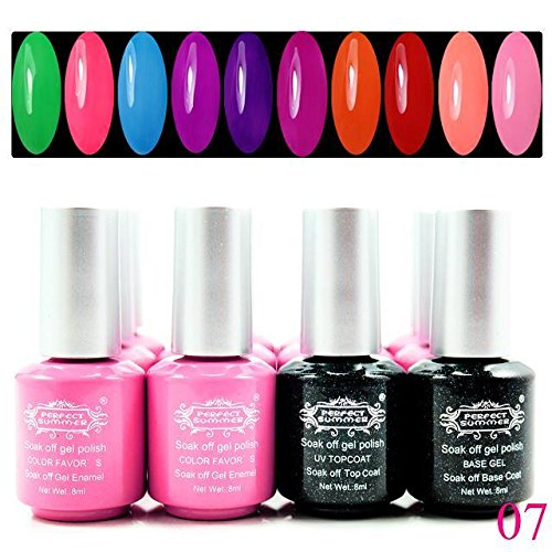 Perfectsummer Uv Gel Polish Soak Off 8Ml Nail Art 1 0Colors + Base + Top Coat