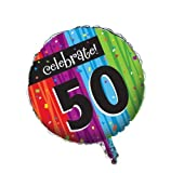 Creative Converting Party Decoration Round Metallic Balloon, Milestone Celebrations 50th By Creative Converting