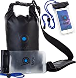 Bago Dry Bags Set - SEE-THROUGH Window Waterproof 100% SATISFACTION GUARANTEED. Plus Cell Phone Bag, Adjustable Shoulder Strap. Fits in your Backpack, Sailing ... Lightweight & Heavy Duty (5L Black