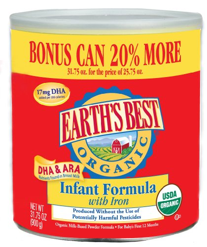 Earth's Best Organic Infant Formula with Iron, DHA & ARA (20% Bonus Size), 31.75-Ounce Cans (Pack of 4)