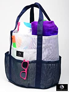 Mesh Family Beach Tote - White and Navy Whale Bag w Black Carabiner Hook by Saltwater Canvas