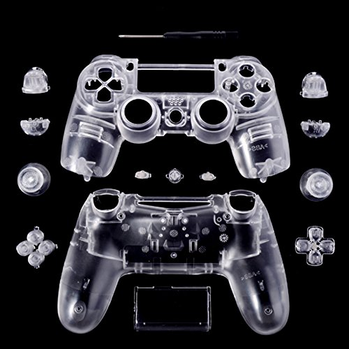 Transparent Clear Controller Full Housing Shell for Dualshock PS4 Playstation 4 custom for sony ps4 playstation 4 controller shell case cover dualshock 4 matte pink mod kit matching buttons set