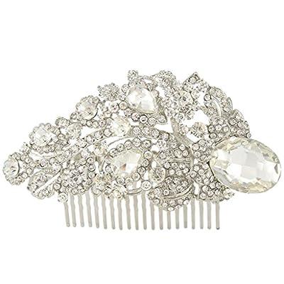 EVER FAITH Bridal Silver-Tone Floral Teardrop Clear Austrian Crystal Hair Comb