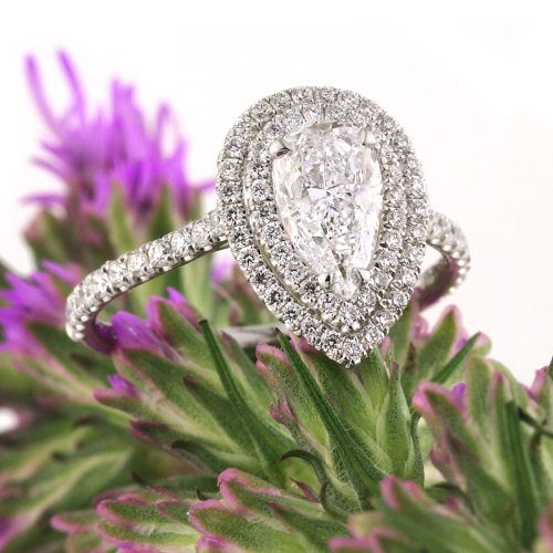 where to buy a double halo pear engagement ring online