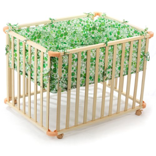 BABY VIVO WOODEN PLAYPEN SQUARE 100x75 CM WITH REMOVABLE WASHABLE INLAY GREEN