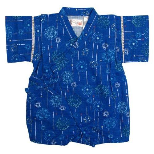 甚平 ロンパース ベビー 男の子 綿100% 日本製生地 花火 和柄 じんべい ロンパース 甚平 ブルー 80cm