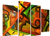 """PICTURE - Multi Split Panel Canvas Artwork Art - African Tribal Painting Colourful Patterns - ART Depot OUTLET - 4 Panel - 101cm x 71cm (40""""x28"""") by Art_Depot_Outlet"""