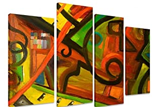 "PICTURE - Multi Split Panel Canvas Artwork Art - African Tribal Painting Colourful Patterns - ART Depot OUTLET - 4 Panel - 101cm x 71cm (40""x28"") by Art_Depot_Outlet"