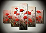 Ode-Rin 100% Hand Painted on Canvas Hot Sale Red Flowers Oil Paintings 5-pieces Ready to Hang Modern Artwork Landscape for Living Room Home and Wall Decoration
