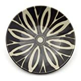 Flower Stripe Plate - Black Glaze||AFTHB