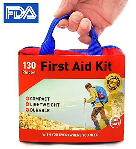 Ultra-light – 130 Supplies Medical First Aid Kit – by Get Safe – Bonus Flashlight Included – FDA Approved And Ideal for Travel Plus Home