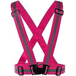 Meyerglobal Reflective Vest High Visibility Safety Adjustable Belt Regular Size Pink Regular size