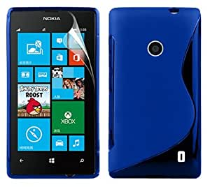 Zonewire® BLUE WAVE GEL CASE COVER FOR NOKIA LUMIA 520 + SCREEN PROTECTOR
