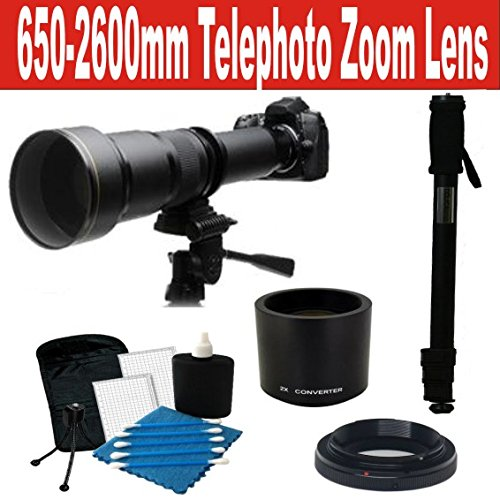 650-1300Mm Telephoto Zoom Lens With 2X Teleconverter (=650-2600Mm) + Monopod + Ct Cleaning Kit For Nikon Df, D4, D3X, D3, D800, D700, D610, D600, D300S, D300, D90, D7000, D7100, D5300, D5200, D5100, D5000, D3300, D3200, D3100 And D3000 Digital Slr Cameras
