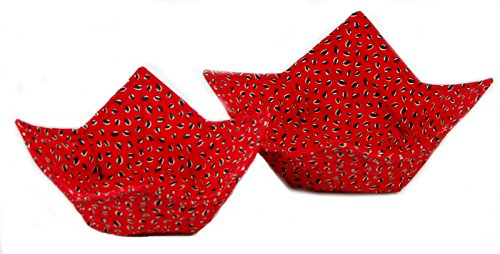 Set Of 2 Fabric Microwave Bowls - Handmade In The Usa - Watermelon Seeds
