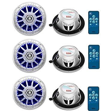 Boss Audio MRGB65 6.5 200W Boat Marine Rgb Led Light Speakers - Silver (6 Speakers)