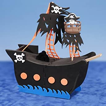 Darice Crafts Ac Mens Foam Pirate Ship 3D Activity Black Medium