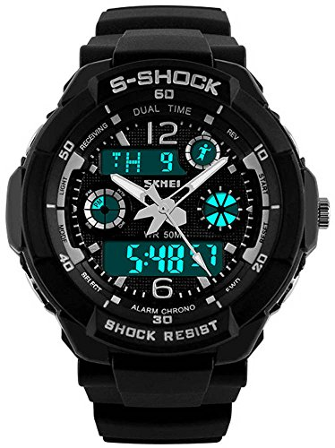Fanmis Unisex Sport Watch Multifunction Colorful Led Light Digital S – Shock Wristwatch Black