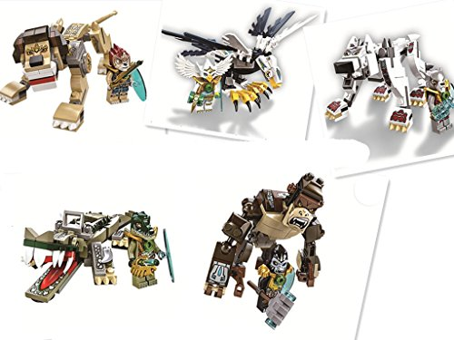 5 Sets New Legends of Chima Beast Crocodile 120PCS & Eagle 103PCS & Gorilla 105PCS & Lion 119PCS & Wolf 109PCS Eco-friendly Plastic No Box Sold By Zhang Chunxiong