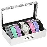 XOXO Women's XO9069 Silver-Tone Watch with Seven Interchangeable Bands