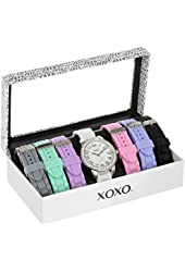 XOXO Women's XO9069 Silver-Tone Watch with Seven Interchangeable Bands