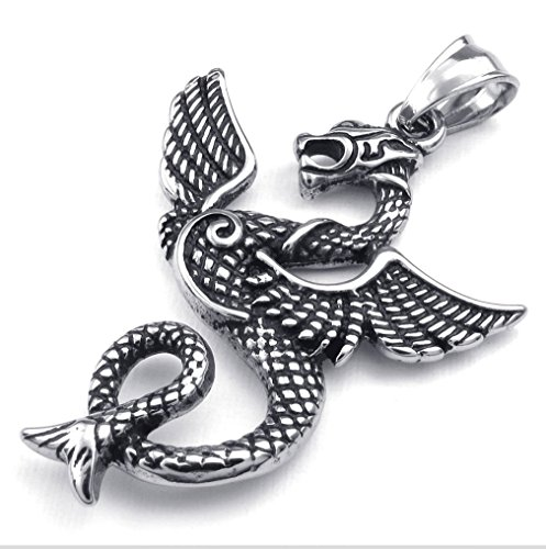 LBFEEL Mens Biker Gothic Dragon Stainless Steel Pendant Necklace,Black,Fashion Pendant, 20 inch Chain