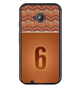 PrintDhaba Numerology Number 6 D-3638 Back Case Cover for MOTOROLA MOTO E2 (Multi-Coloured)