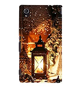 Omnam Laltern Lying In Cold Snow Printed Designer Back Cover Case For Sony Xperia M4