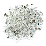 Onlyfire 5913 Beautiful Reflective Fire Pit Glass Fireglass Fireplace Glass for Natural or Propane Fire Pit, Fireplace, or Gas Log Sets, 10-Pound, 1/2-Inch, Platinum