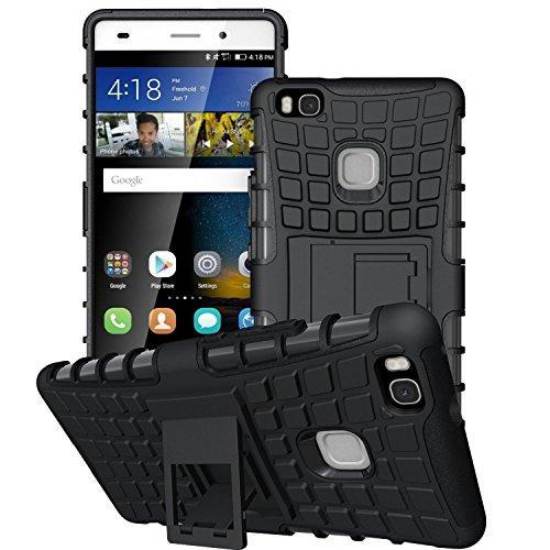 Huawei P9 Lite Custodia , Anzhao Duro Shock Proof copertura Rugged Heavy Duty Antiurto in Piedi Custodia caso Case per Huawei P9 Lite (Nero)