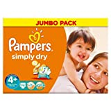 Pampers Simply Dry Nappies Size 4+ Jumbo Pack 70 per pack Case of 1