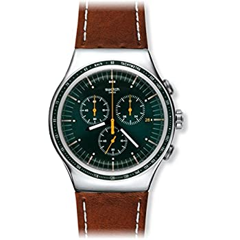 Swatch Alpine Vintage Green Dial Brown Leather Mens Watch YOS450