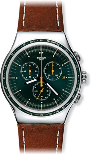 Swatch Alpine Vintage Green Dial Brown Leather Mens Watch YOS450 0