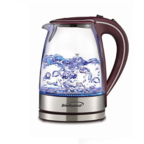 Electric Tea Kettle - Premium 1.7L Cordless - Clear Tempered Gass with Quiet Boil - Cool Touch Handle and Auto Shut off Basic Finds By Brentwood (Purple) (Smallest Electric Tea Kettle compare prices)