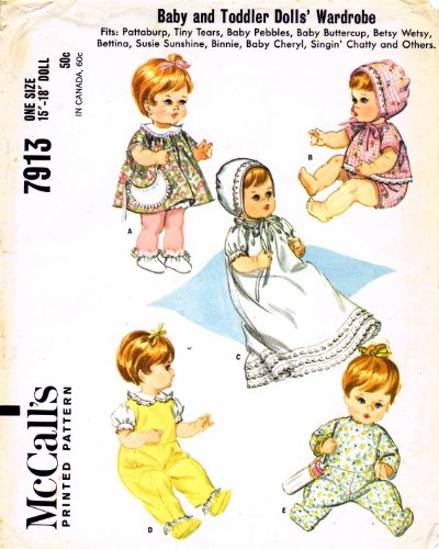 McCall's 7913 Vintage Sewing Pattern Baby Toddler Dolls Wardrobe