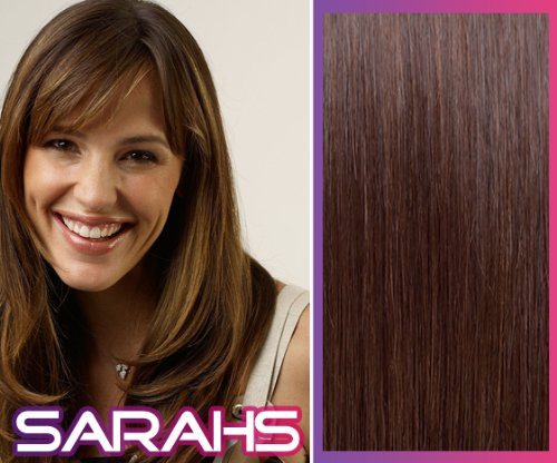 22 inch Chocolate Brown (4). Full Head. Clip in Human Hair Extensions. High quality Remy Hair!. 120g Weight