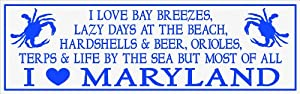 My Word 5.75 x 16-Inch Wood Sign, I Love Maryland