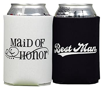 Wedding Koozies Favors Funny Designs, Quotes, Bridal Party