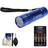 51 uzpA aqL. SL160  Canon 9 LED Push Button Flashlight (Blue) with Batteries & Charger + Cleaning Kit for Rebel T2i, T3, T3i, T4i, EOS 60D, 7D, 5D Mark II III Digital SLR Camera