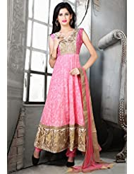 Utsav Fashion Women's Dark Pink Cotton Chanderi Readymade Anarkali Churidar Kameez-Small