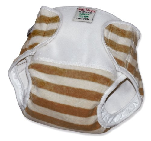 Organic Cotton Velour Diaper Cover (Super Large (28+ lbs), Mocha Stripe) - 1