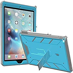 iPad Pro 12.9 Case, POETIC Revolution [Premium Rugged][Landscape Stand Feature][Shock Absorption & Dust Resistant] Protective Case w/ Built-In Screen Protector for Apple iPad Pro 12.9 Blue/Gray